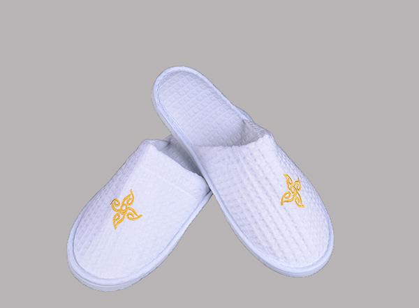 100% cotton waffle 5 star closed toe non slip hotel slipper