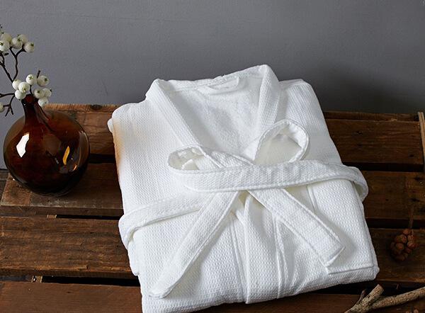 White 100% cotton hotel waffle bathrobe