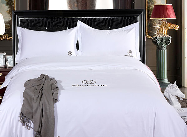 Hotel Bedding Set 400TC White Sateen with Custom Logo
